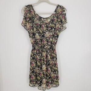 Express Floral Flutter Sleeve Dress Sz s